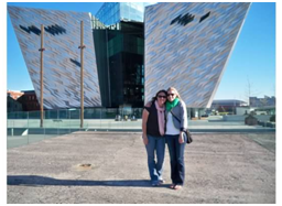 My sister and I standing on the Titanic slipway, outside Titanic Belfast.