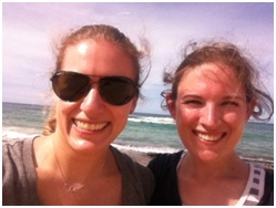 Emily and Ros at the beach