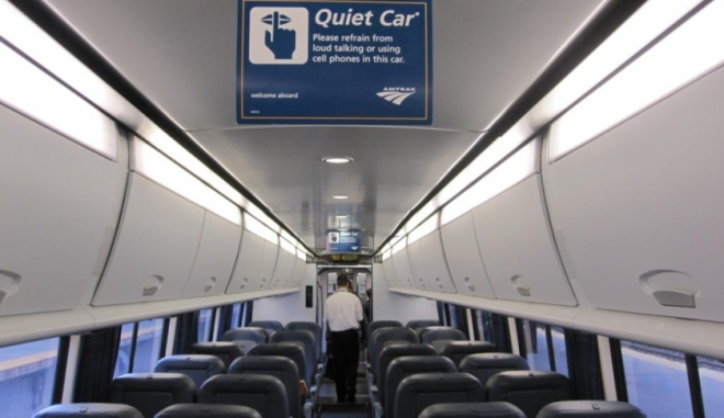 """Photo from the Fortune article, """"The Cult of the Amtrak Quiet Car,"""" an interesting read for quiet care devotees and those unaware: http://fortune.com/2014/09/17/amtrak-quiet-car/"""