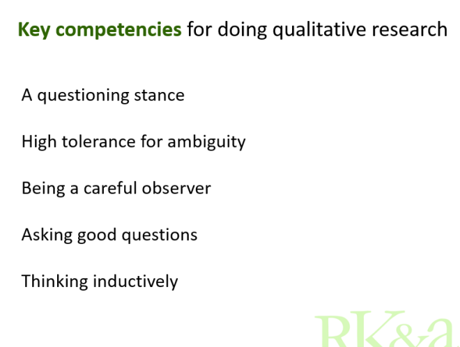 Key competencies for doing qualitative research
